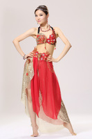 2014 Hot Fashion Sexy red belly dance costume womens clothing sets top and skirts
