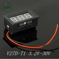 1pcs V27D - T1 2-wire  buggies 6v 12v motorcycle battery special 3.2-30v digital digital voltmeter RED