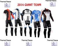 2014 Giant Ropa Ciclismo Cycling Jersey Long Sleeve Bib Pant Thermal Fleece Wear Winter Bike Clothing MTB