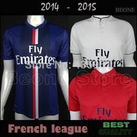 TOP Quality 14 - 15 Player version Embroidery IBRAHIMOVIC DAVID LUIZ 2015 Soccer Jersey camisetas de futbol  / Can Customize