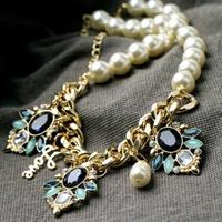 Pearl Love Drop Acrylic Gem Gold Collar Choker Chain Statement Necklaces & Pendants New 2014 Fashion Jewelry Women Wholesale N34