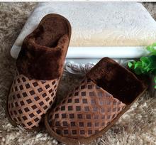 2014 invierno zapatillas de felpa cálida unisex zapatillas de casa pisos de coser casa deslizador de interior zapatos de envío gratis(China (Mainland))