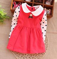 hot sell 2014 autumn Fashiongirls'Princess dress Girl's Baby dress dot Girls Dress Children's dresses Kids wear Kids clothe