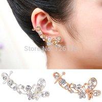 Korean Elegant Earring Retro Crystal Earring Butterfly Flower Ear Cuff Stud Earring Wrap Clip On Ear Clip Clamp