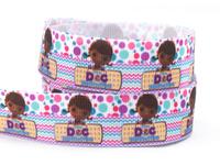 "7/8"" (22mm)  Ribbon Doc Mcstuffins Party Printed Grosgrain Cute Girl Ribbon For DIY Packing Tape 50yard/lot"