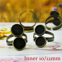 20X Antique Bronze Ring Setting Base Jewelry Finding with Inner 10-12mm Tray for Glass Cabochons/Domes