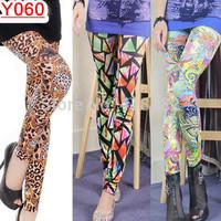 Y060- Hot Fashion Leopard grain leggings 14 models Women Colorful  printing leggings free shipping
