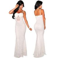 long Lace Mermaid evening dress 2014 new arrival formal dresses White floor length Maxi Evening Gowns vestidos de festa longo