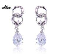 White Crystal Zircon Dangle Earring 100% pure Silver Earings Fine Jewelry ZC146ER