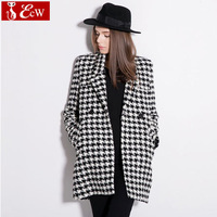 Long Style Women Woollen Coat New Fashion 2014 Double-breasted Slim Thicken Classical Wool Peacoat