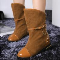 2014 Autumn Women Flat Heel Knight Boots Fashion Increased Heel Ankle Metal Rivets Winter Leather Shoes Footwear Botas Femininas