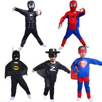 2014 Hot sale new party dresses Free shipping Spider-man Superman Batman Zorro costume Cosplay boys Spiderman costume kids set