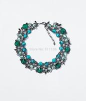 2014 Fashion Vintage Plated Blue ink Crystal Necklaces Brand Za Chunky Statement Necklaces  KK-SC663