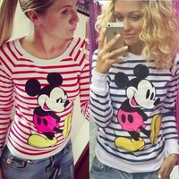 new 2015 brand stripe black and white women's long sleeve T-shirt casual pullover sudaderas mujer