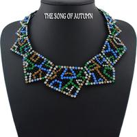 2014 New Fashion Brand Collar Necklaces & Pendants Color Rhinestone Statement necklace Shourouk Women jewelry
