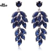 Blue Topaz Zircon Drop Earring sapphire jewelry Long Dangle Earring brincos grandes ZC166ER