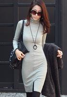 2014 new autumn Korean style plus size Slim trutleneck long-sleeved dress basic dress free shipping XL