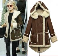 European Brand New 2014 Autumn Winter Women Fashion Brown Fur Hooded Coat Casual Warm Down Jacket Female Outerwear Free shipping