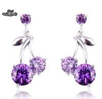 Purple Cherry Crystal Zircon Earring Women Fashion Drop Earring ZC187ER