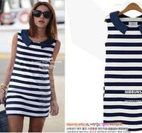 2014 Korean version Slim casual sleeveless dress navy doll collar Navy long vest dress S M L  100% striped cotton dress