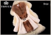 Autumn Winter Ladies' Natural Rabbit Fur Coat Jacket Raccoon Fur Collar Coat Women Fur Trench Outerwear Coats Plus Size FP331