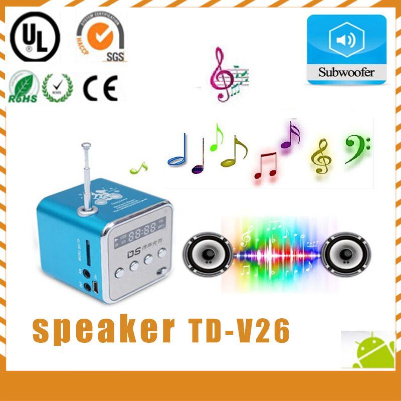 Free Shipping ! td-v26 Stereo Mini Speaker USB TF Card MP3 player Music Portable Speakers FM Radio Digital Speaker free shipping(China (Mainland))