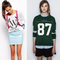 2014 Autumn New Women's Knitted Sweatshirt Letter Print Sweatshirts For Women Desigual Elegant Ladies casual Pullovers Shirt