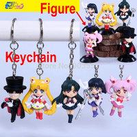 Anime Sailor moon Figure Usagi Tsukino Keychain  Kids toy Gift  Key ring Free Shipping 5pcs/set