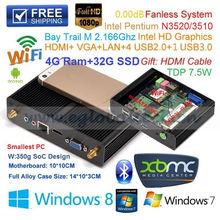 Fanless Mini PC Palm Computer Slim Nettop With Baytrail Intel Pentium Quad Core N3510 4G Ram 32G SSD SoC Design TV Box HDMI VGA(China (Mainland))