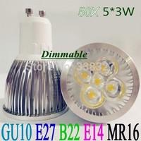 50pcs/lot  High Power GU10 / E27 /  MR16 / E14 / B22 4X3W 12W 5X3W 15W  dimmable LED bulb  Led Spotlight  Free shipping