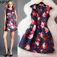 Women Retro Vintage Flower Print Sleeveless Slim Ball Dress,Ladies Sundress XL 2014 Autumn New European American High quality
