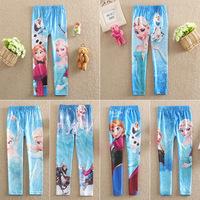 Girls Frozen Leggings 2014 Kids Pants Elsa Anna Olaf  Frozen Baby Cotton Elastic Waist Full Length Legging