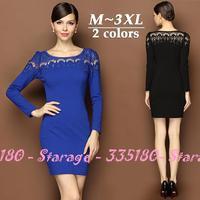 S-XXL Brand Elegant Ladies Hollow Out Lace Patchwork Slim Pencil Dresses 2014 Autumn Winter Fashion Plus Size Women Clothes 8116
