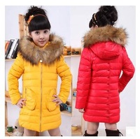 New 2014 winter girls baby clothes,children's warm long fur outerwear,sport kids hooded down jacket coats for girl,free shipping