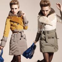 2014 winter ladies high-end luxury double Layer rex rabbit  fur down jacket winter Fashion Slim brand warm down filled outwear