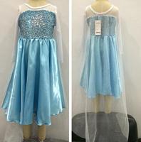 new 2014 Frozen Elsa Costume Custom Size For Kids Princess Dress Sequined Cosplay Costume girl dresses vestidos infantis