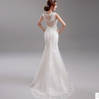 New Lady Lace Embroidery V-Neck Sleeveless Transparent Back Floor Length Mermaid Short Train Formal Wedding Dresses Bridal Gown