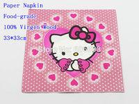 Food-grade Hello Kitty Paper Napkin Cartoon Festive & Party Tissue Napkin Supply Party Decoration Paper 33cm*33cm 1pack/lot