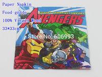 Food-grade Avengers Paper Napkin Cartoon Festive & Party Tissue Napkin Supply Party Decoration Paper 33cm*33cm 1pack/lot