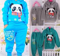 Free shipping 2014 New children panda long sleeves clothing sets hooded coat+long pant 2pcs kids sports sets