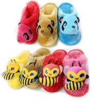 HWP NEW 2014 Children Slippers Winter Plush Little Bear Bees Animal Prints Baby Slippers