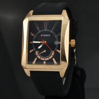 Hot Sale Luxury Brand Curren Rectangle Dial Quartz Watch For Men Fashion Date Wrist Watch Relogio Masculino 8144