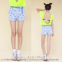 [J.C] Korean style original light color cross embroidered high waist denim shorts S M L