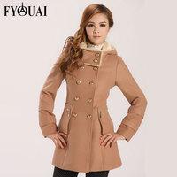 FYOUAI NEW Winter Woolen jacket  Fashion Coats Slim Long Woolen jacket Hooded Warm Cashmere Parka NEW 2014 top women clothing
