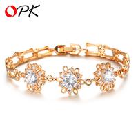 OPK Brand AAA Cubic Zirconia Flower Bracelet 18K Gold Plated Women's Luxury Charm Bracelet Jewelry for Wedding