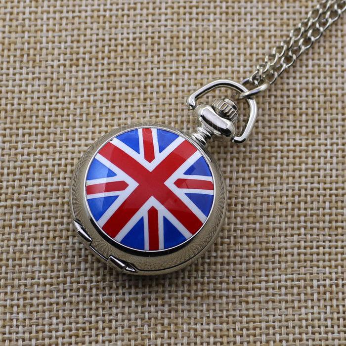 Silver Color UK Flag Quartz Pocket Watch Necklace Pendant Chain Gift P162(China (Mainland))