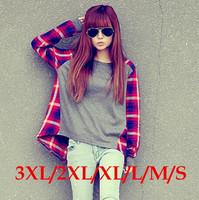 Size S-XL On Sale!  New Spring and Autumn Korean Women Loose Plaid Long-sleeved T-shirt Street Sweatshirt