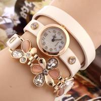 2014 New Fashion PU Leather Strap Wristwatch Golden Case Wrap Watches Flower Dress Women Rhinestone Watch SL15