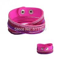 2014 Multilayer Bracelet, Double Wrap Bracelet, 3 Color per Bracelet, 6 Layer Crystal, Free Shipping