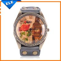 New 2014 Fashion Cow Leather Strap Watches British Style Vintage Retro Watch Analog Quartz Watch For Women Men Wristwatches